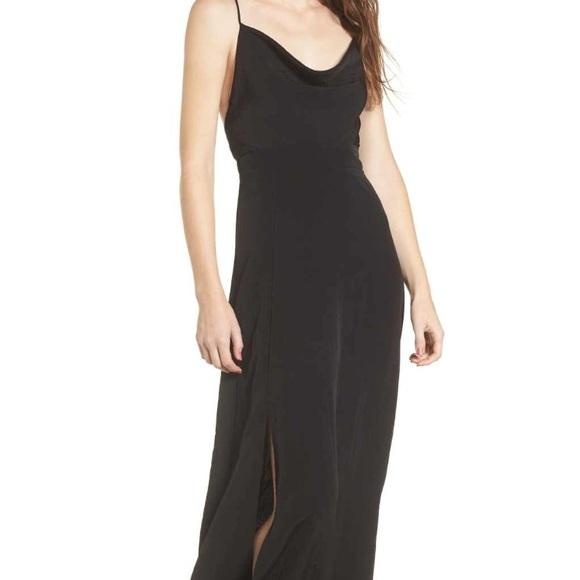 4sienai Dresses Elegant Cowlneck Black Maxi Dress With Side Split